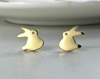 Rabbit Earrings - Rabbit Jewelry - Studs Earrings - Silver Earrings - Gold Earrings - Bunny - Christmas Gift - Best Friend Gift - Gift Ideas