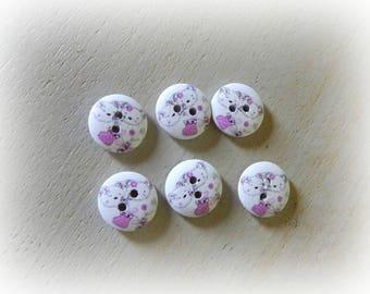 Teddy bear pink 6 wooden buttons 15 mm
