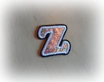 1 patch fusible patch / applique letter Z alphabet in silver, white and black tones