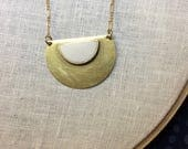 Large Brass Half Moon Necklace - your choice of colors