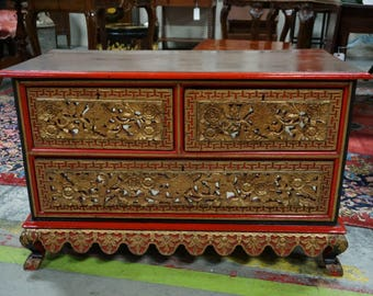 Highly Carved Antique Korean Chest