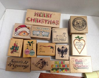 Vintage Rubber Stamp grab bag Christmas #2