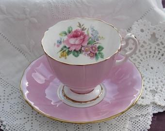 Vintage Tea Cup and Saucer, Adderley, Pink Bone China Tea Cup, Floral Cup and Saucer, Made in England