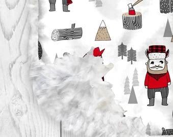 Llama Love Lumberjack.  Plaid Nursery. Faux Fur Baby Blanket. Minky Baby Blanket. Boy Blanket. Lumberjack. Woodland Baby. Plaid Baby.