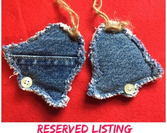 Recycled denim bell ornaments
