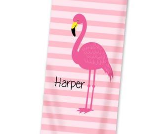 Flamingo Personalized Beach Towel - Flamingo Pool Towel, Pink Stripe Bath Towel, Hot Pink Flamingo Kids Beach Towel - Kids Personalized Gift