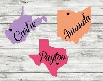 Any State Name Decal | Window Sticker | Yeti | Tumbler