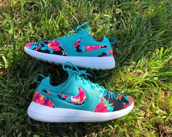 Womens Nike Roshe 2 Washed Teal Floral Flowers Sneakers