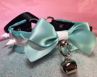 Aqua and White Collar