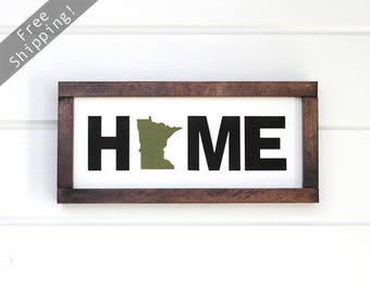 "Minnesota Home Sign. Minnesota Sign. Minnesota Wood Sign. Wooden State Art. MN Home. MN Art. Minnesota Gifts. 14""x7"""