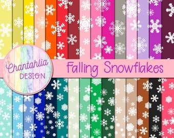 Falling Snowflakes Digital Paper in 30 Colours for Scrapbooking, Card Making, Invitations and More
