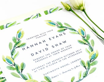 Leaves Wreath Wedding Invitation RSVP Save the Date Belly Band
