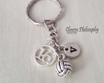 Volleyball Key Chain - Women's and Men's Gift - Personalized Jersey Number and Initial - Beach Volleyball Gifts - Sports Keychain