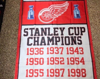 PRE-SEASON SALE 30% Off Detroit Red Wing Stanley Cup Banner 3' x 5'
