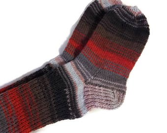Hand knitted socks Handmade socks Wool socks Warm socks Socks for women Socks for men Red socks Gray socks