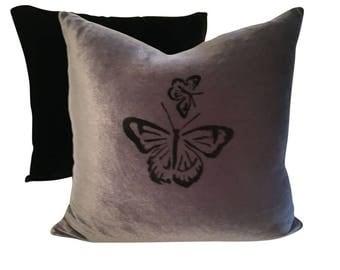 Butterfly Pillow, Insect Pillow, Gray Velvet Pillow, Gray and Black Pillow Cover, Hand Painted Pillow Cushion, Velvet Sofa Pillow