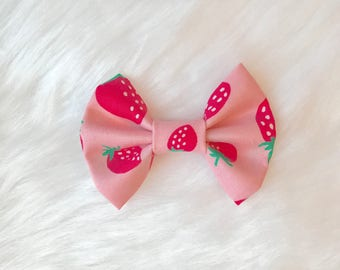 Pink Strawberry fabric Kenzie Bow, strawberry hair bow on clip or headband