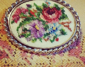 Vintage Needle Point Brooch