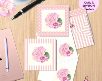 """DIY DIGITAL PRINTABLE Mini Greeting Cards and Envelopes, 2"""" X 2""""-  shabby chic pink rose  - victorian style - watercolour"""