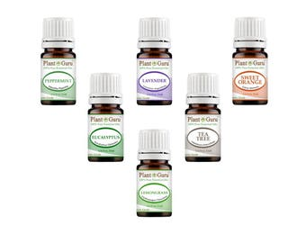 Top 6 Essential Oil Set Kit Variety 100% Pure Therapeutic Grade 5 ml Includes Peppermint, Lavender, Orange, Lemongrass, Eucalyptus, Tea Tree