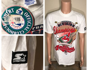 NOS Cleveland Indians shirt // Chief wahoo // big logo // adult size medium M // Starter // 1995 World Series // colorful // deadstock