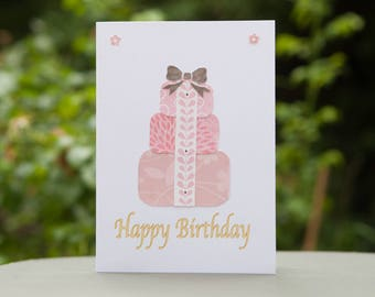 Happy Birthday Card - Pretty and Pink, Wrapped Presents.