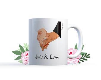 "Illustration ""Wedding hand in hand"" Mug Special personalized wedding / love Nadja"