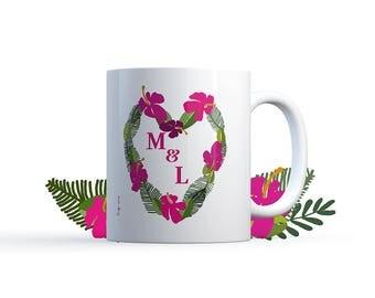 "Illustration ""initials tropical flowers"" Mug Special personalized wedding / love Nadja"