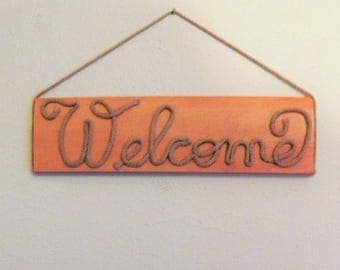 WELCOME SIGN, Rope sign, Welcome on Wood,