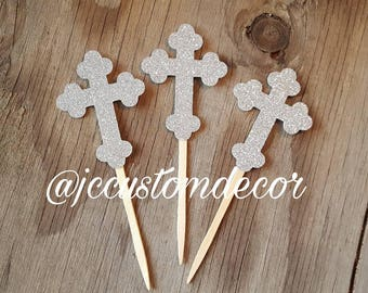 Glitter Baptism Cross Cupcake Toppers-Boy Girl Cross Cupcake Toppers-Christening Cross Toppers-Cross Cupcake Toppers-Cross Toppers-Glitter