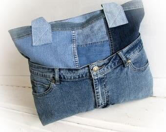 blue denim bag, recycled jeans tote bag, zippered patchwork bag, handmade bag,  jean handbag, jean patchwork, made of jeans, casual bag