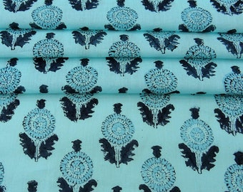 """Craft Dressmaking Fabric, Floral Hand Block Print, Blue Fabric, Antique Fabric, 45"""" Inch Cotton Fabric By The Yard ZBC8200A"""