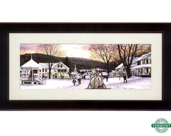 "45x24 ""Sleigh Bells"" Art Print by Bill Breedon, Framed & Matted, Framed Christmas Art, Snow, Winter Scene, Horse Drawn Sleigh, Vermont Town"