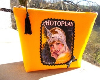 Yellow faux leather transfer Art Deco vanity case