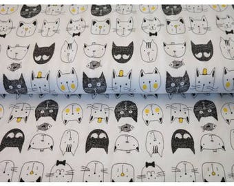 Cats on White Smooth Light Weight Cotton