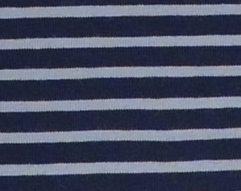 Navy and Baby Blue Stripe Cotton Lycra Jersey Knit Fabric