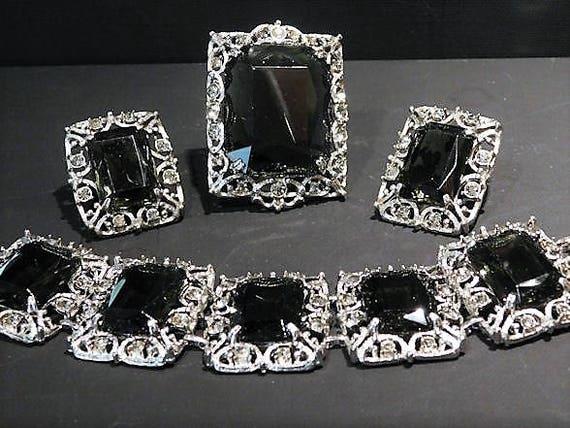 Sarah Coventry Brooch Pendant Earrings Bracelet Mid Century 1960s 60s Designer Jewelry Fashion CELEBRITY Full Demi Parure Set Vintage Topaz