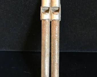 Vintage metal double whistle
