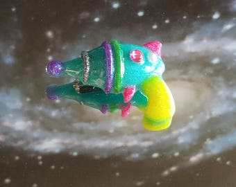 Bejeweled Space Babe Ray-Blaster Brooch