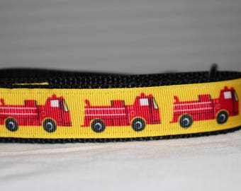 "Adorable Fire Truck Design Dog Collar - Choose Side Release Buckle or Martingale  (1"" Width) - Martingale Option Available"