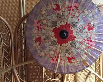 Vintage Japanese Paper Parasol, Bohemian Home Decor, Geisha Print Vintage  Parasol With Bamboo Handle