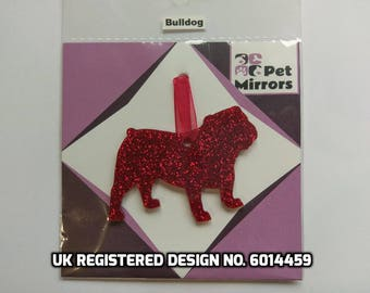 Glitter acrylic Bulldog Christmas decoration - 9 colour choices