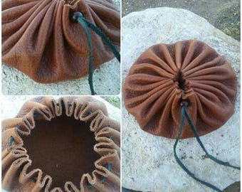 Brown Leather Crystal Pouch * Brown Crystal Pouch * Leather Pouch * Drawstring Pouch *Crystal Bag