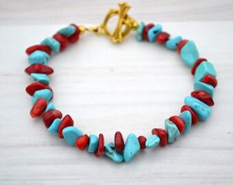 Red coral turquoise bracelet, Red blue bracelet, Coral bracelet, Turquoise coral bracelet, Turquoise bracelet, Coral gift, Red coral jewelry