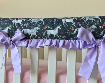 Unicorn Rail Guard with Bows, Mommy and me Unicorn Rail Guard, Unicorn Nursery, Unicorn Baby Bedding, Unicorn Crib Bedding, Bumperless Cribs