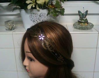 chain shabby headband bronze,purple facette flower,Amethyst beads/serre tete shabby mauve en chaine,perles Amethyste