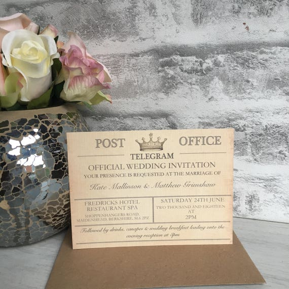 Personalised Destination Wedding Invitation Vintage Telegram Style