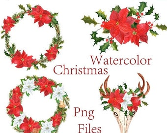"40%SALE Watercolor Christmas clipart: ""CHRISTMAS CLIP Art"" Christmas bouquets,Christmas wreaths,Christmas scrapbook,Holiday clipart,Poinsett"