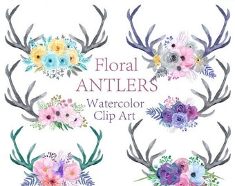 40%SALE Watercolor antlers clipart Floral clipart Watercolor flowers clipart Bouquets clipart Wedding clipart Invitation clipart Floral Antl