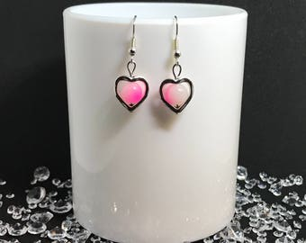 Silver plated heart earrings with pink bead centre